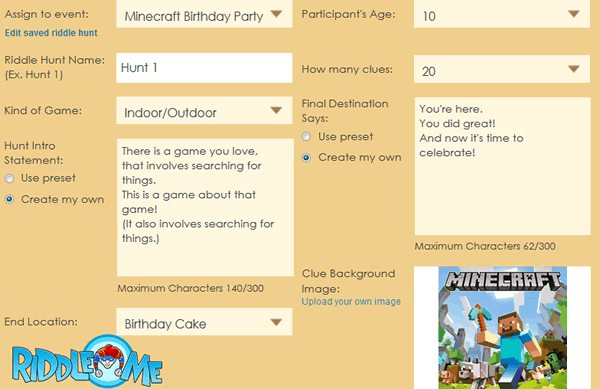 Minecraft Birthday Party Activity